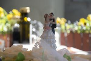 Fotografo Firenze - Soprammobile di due Sposi sopra la torta di un matrimonio