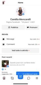 Facebook Business Suite Pagina Camilla Mencarelli